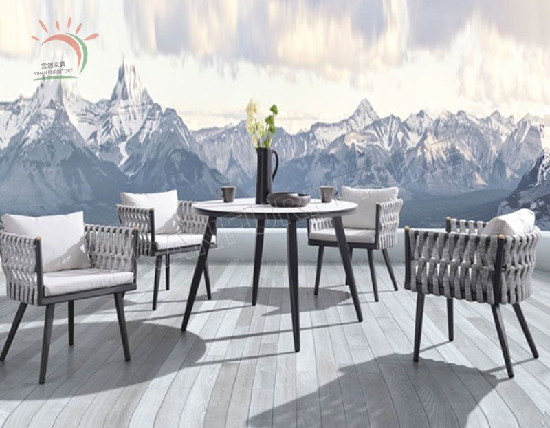 Patio Outdoor Furniture Dining Set Rope Weaving Table and Chair