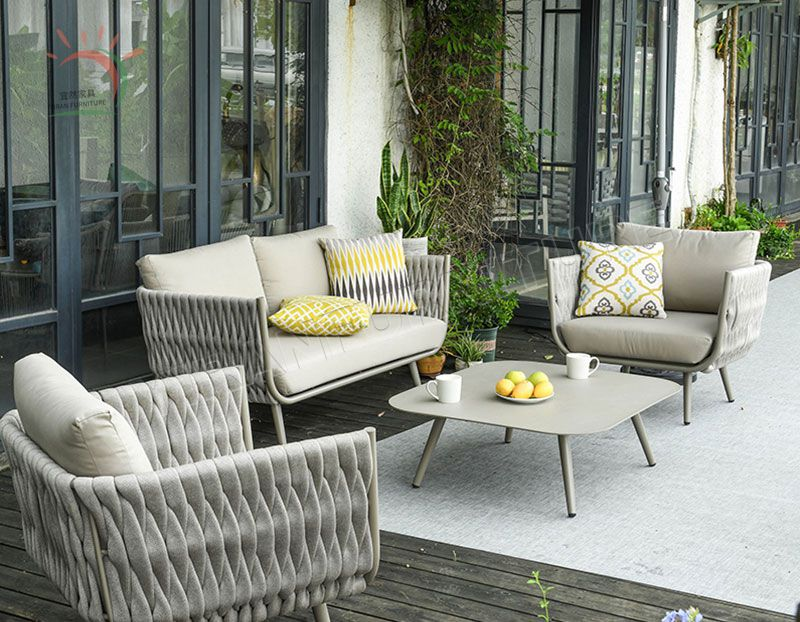 Chinese Modern Outdoor Garden Sofa Sets Home Deck Hotel Home Livingroom Furniture Rope Weaving Sofa with Table