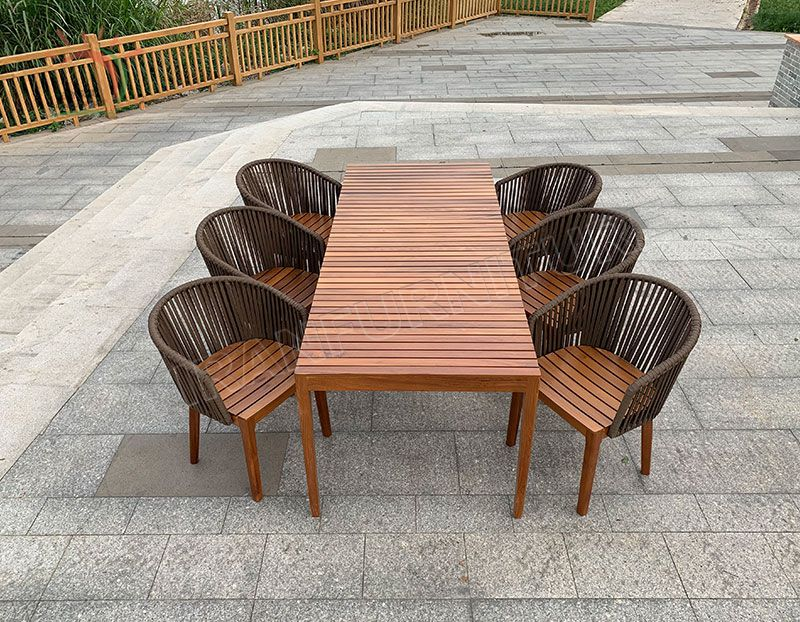 New Arrival Morden Wooden Garden Dining Set High Quality Table Outdoor Chairs