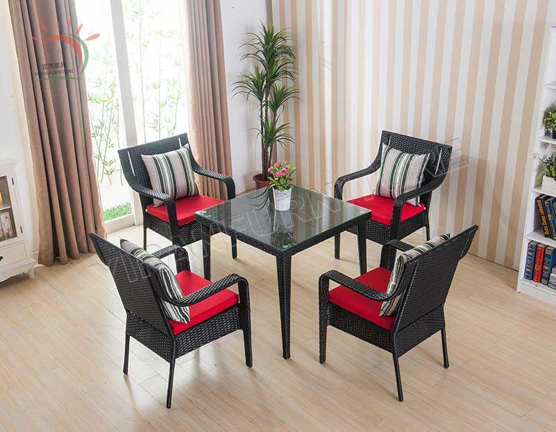 5pcs in Brown Color Outdoor Rattan Furniture Wick Dinning Set Garden Set