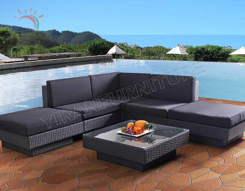 Black Rattan Conservatory, Outdoor Garden Furniture, L-Shape 6 PIECE Corner Set