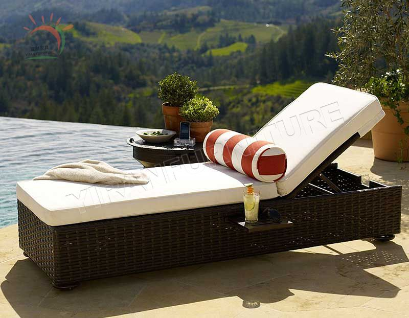 Outdoor Patio Sun Bed Adjustable Pool Wicker Lounge Chair Portable Furniture