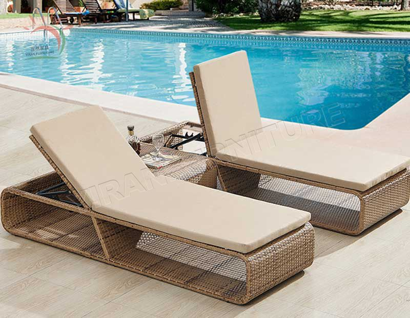Cheap Patio PE Rattan Hotel Furniture Sun Armless Chaise Lounge Set Lounger Recliner Chair