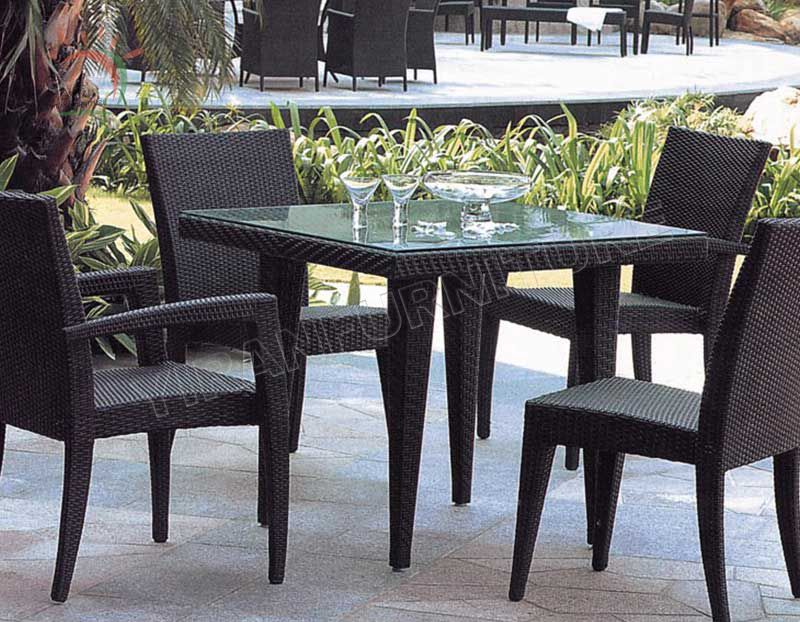 5pcs Black Color Rattan Dining Set In High Quality On Low Price