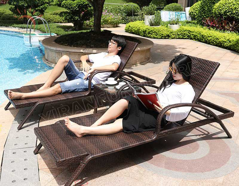 Beach PE Rattan Hotel Sun Armless Used Chaise Bar and Lounge Furniture