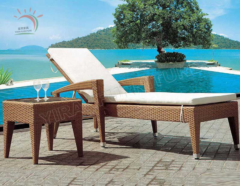 Light Color Fabric Rattan with Aluminum Frame Beach Sun Bed Chaise Lounge Pool Bed Outdoor Sunbed Sun Lounger