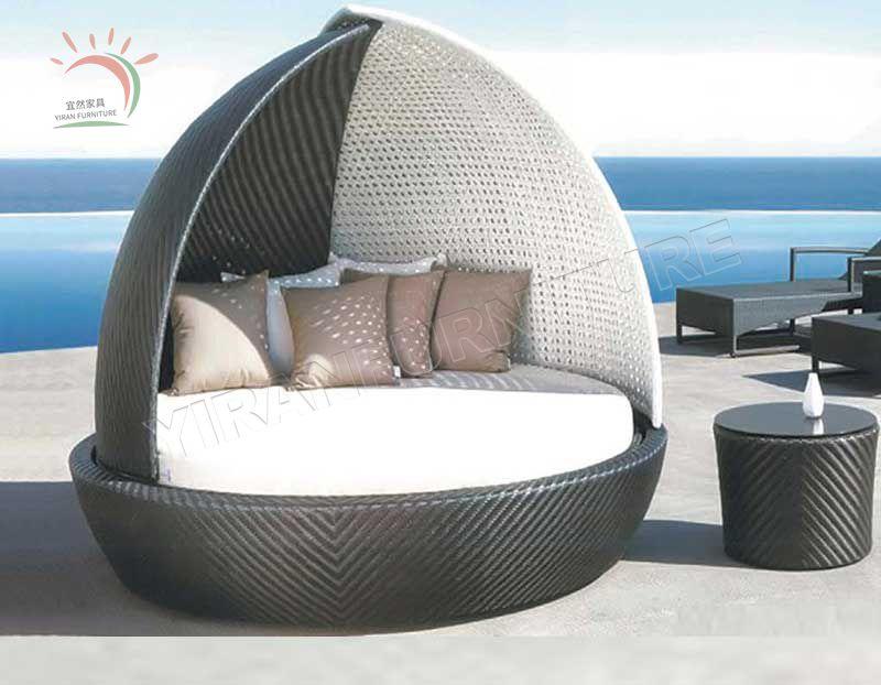 Rattan Garden Outdoor Furniture Wicker Canopy Outdoor Daybed