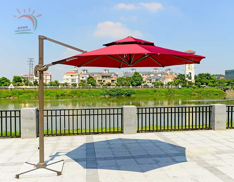 Windproof Outdoor Beach Umbrella Square Double Top Roman Umbrella with Marble Base