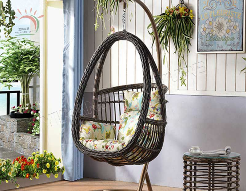 Egg Shape Round Wicker Adult Hanging Swing Chair Outdoor