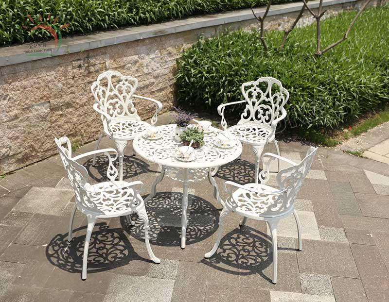 Waterproof Patio Cast Aluminum Tea Table and Chair Set Outdoor/Patio/Garden/Cottage/Courtyard/Beach Furniture