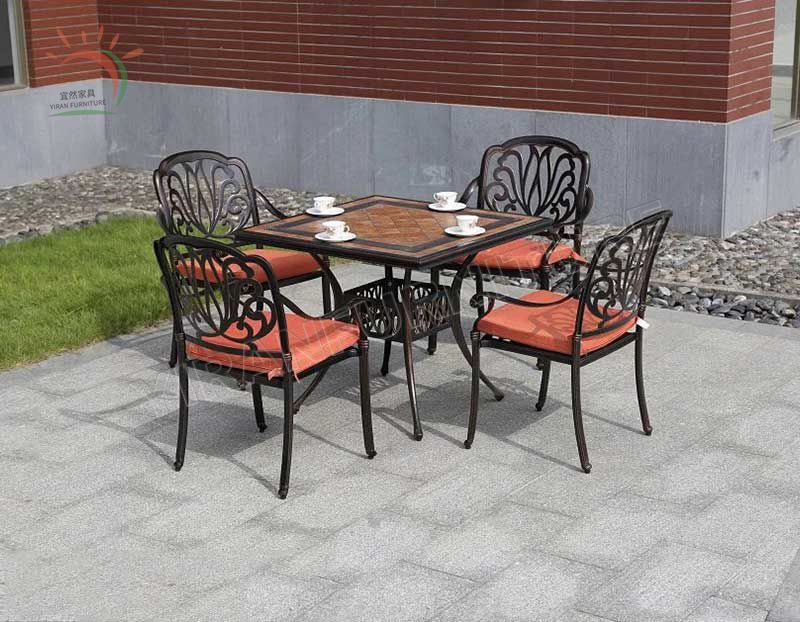 Cast Aluminum Powder Coated Table and Chair Outdoor Furniture Set Used for Villa Yard or Courtyard