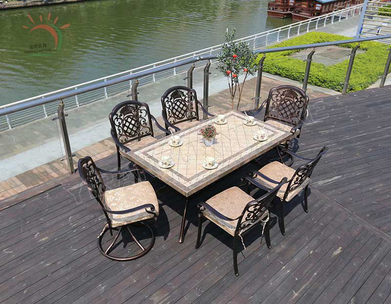 Garden Furniture Table Set Cast Aluminum Table and Chair
