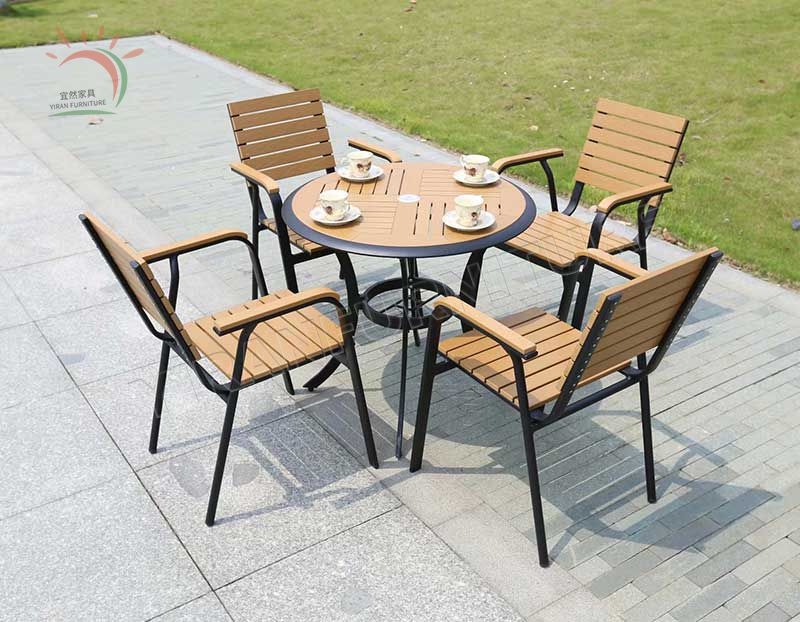 Outdoor Garden Plastic Wood Dining Sets Table and Chairs