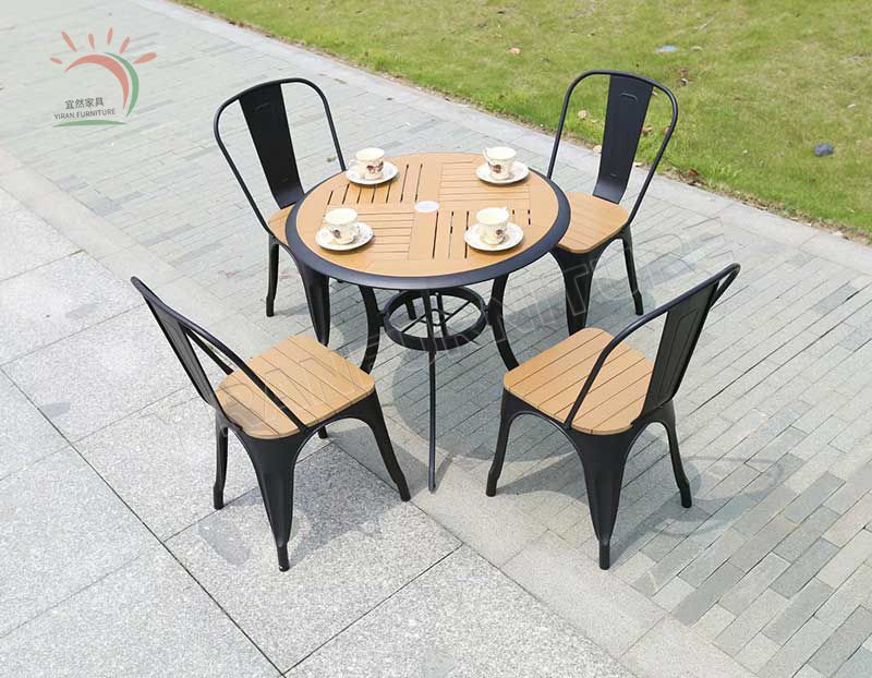 Outdoor Home Furniture Cheap Aluminum Frame Dining Chair Patio Furniture Rectangular Plastic Wood Dining Table Set