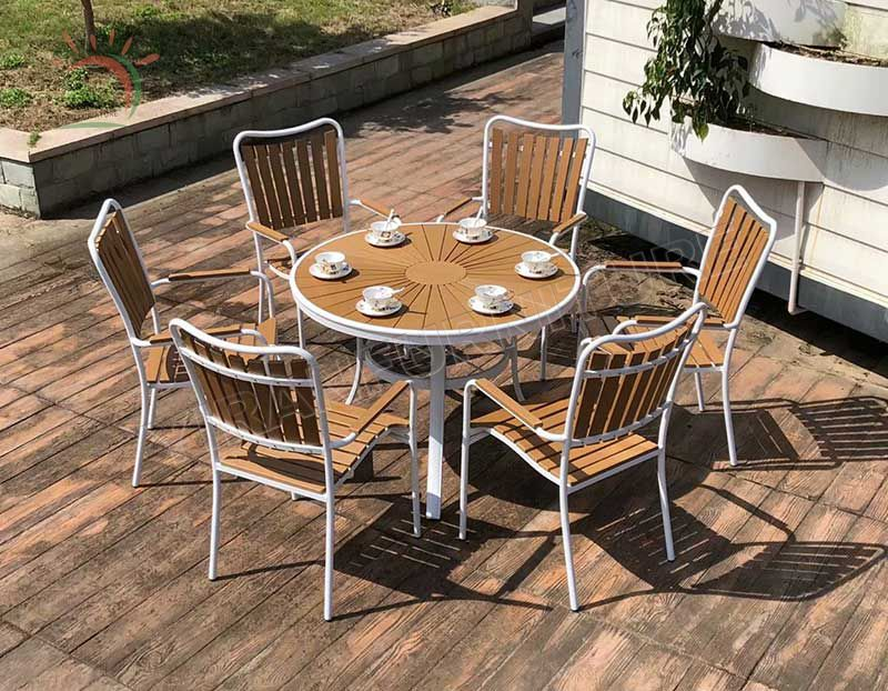 Outdoor Furniture 5pcs Plastic Wood Aluminum Garden Patio Table and Chairs Dining Sets Leisure Rectangular Table
